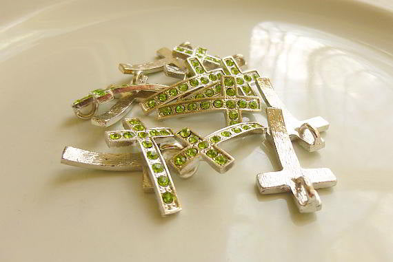 5 Rhinestone Cross Pendant Charm Silver Green 28mm x 17mm