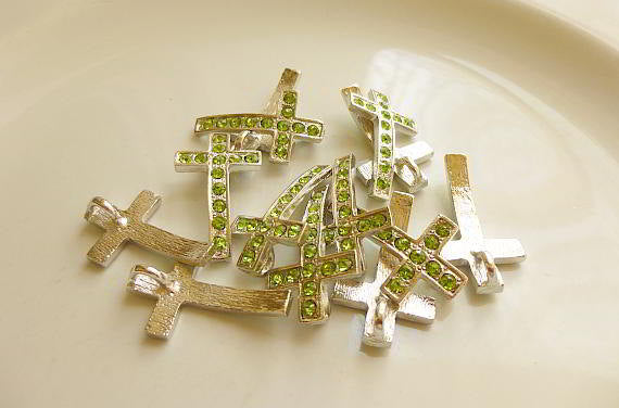 5 Rhinestone Cross Pendant Charm Silver Green 28mm x 17mm - 5 rhinestone cross charm or pendant