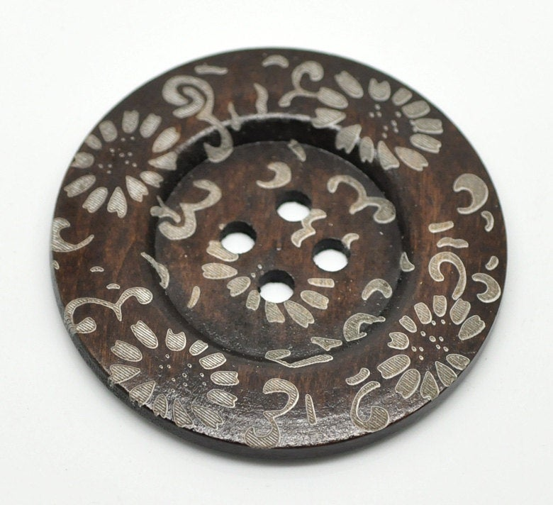 1 Extra Large Wooden Button - 2 3/8 inch - 60cm - Wood Buttons - Decorative