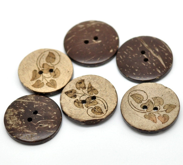 5 Large Wooden Buttons - 1 inch - 28mm - Wood Buttons - Leaf Pattern