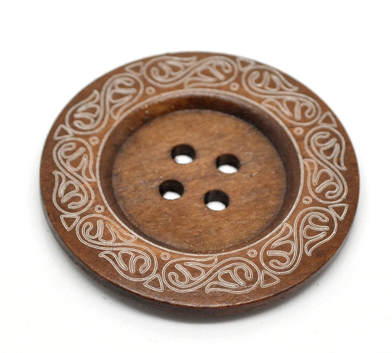 1 Extra Large Wooden Button - 2 3/8 inch - 6cm - Wood Buttons - Decorative  - 1 piece