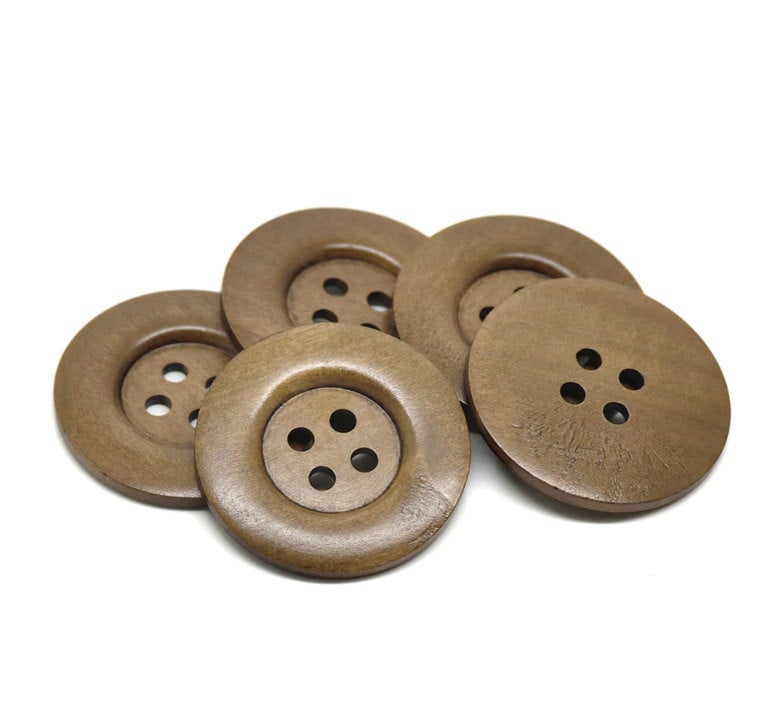 5 Extra Large Brown Wooden Button - 2 3/8 inch - 6cm - 4 hole