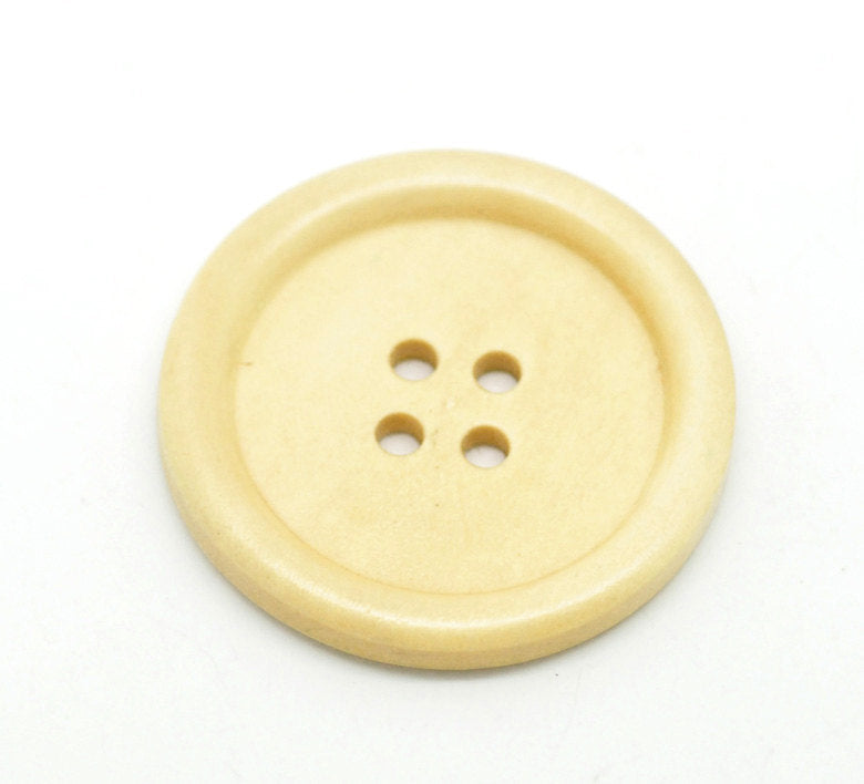 5 Large Natural Off White Wooden Button - 40mm