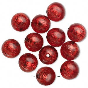 6 Red - Silver Foiled Resin Beads - 16mm - Basketball Wives Inspired