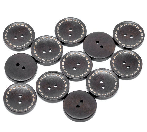 Dark Brown Wooden Buttons - Stitch Design - 25mm - 1 inch -  2 hole