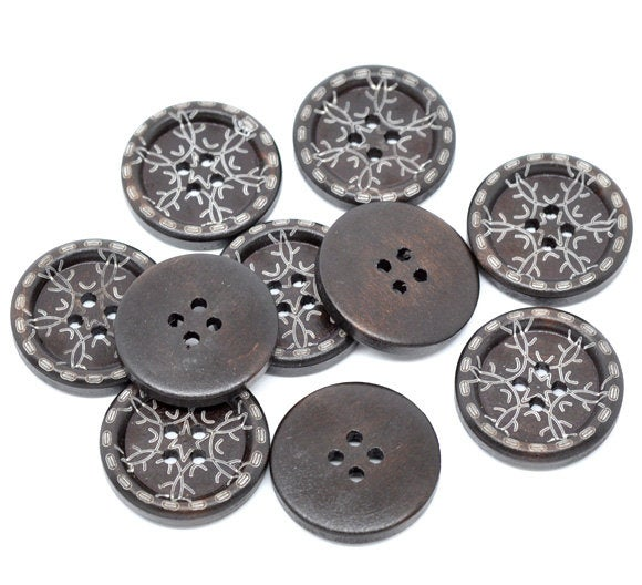 6 Dark Brown Wooden Buttons - Twig Snowflake Design - 25mm - 1 inch -  2 hole