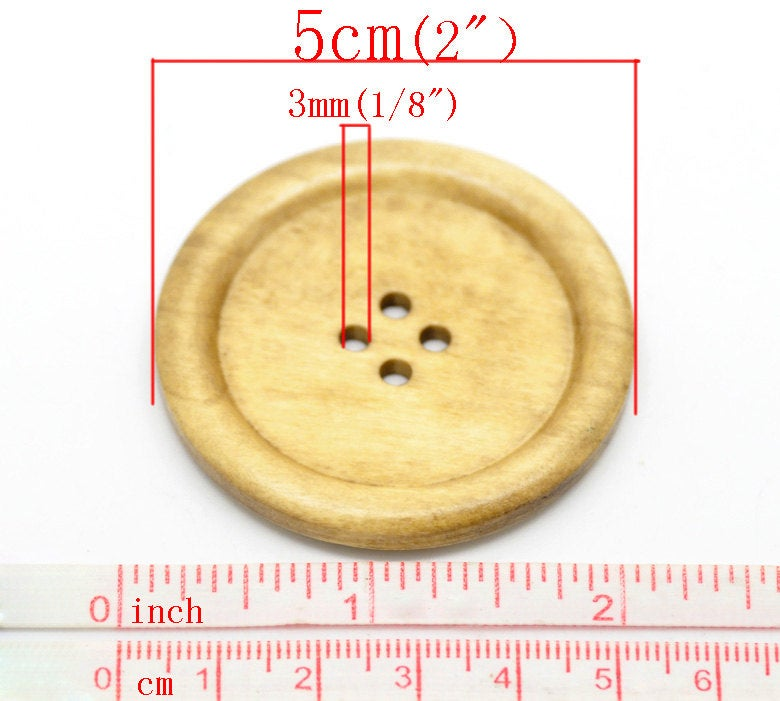 10 Extra Large Natural Wooden Button - 5cm - 2 inch -  4 hole