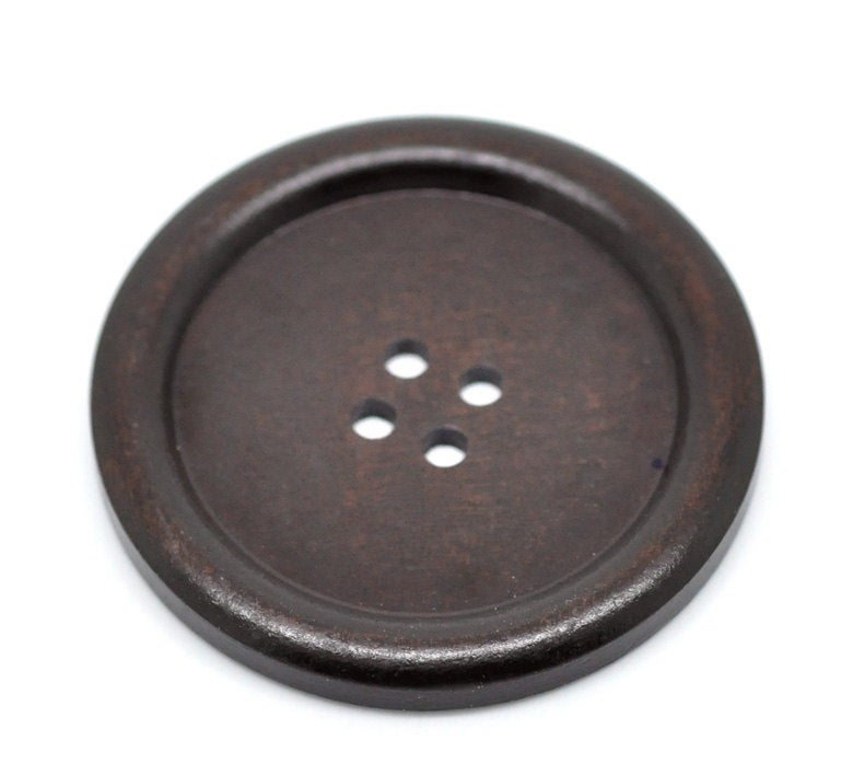 5 Extra Large Dark Brown Wooden Button - 4cm - 1.5 inch -  4 hole