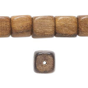 6 Wood Beads Rounded Cube -  Brown - 11mm