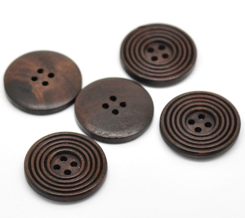 "5 Dark Brown - Coffee Finish Wooden Button - 30mm (1 1.8"") - Circle Pattern - 4 hole"