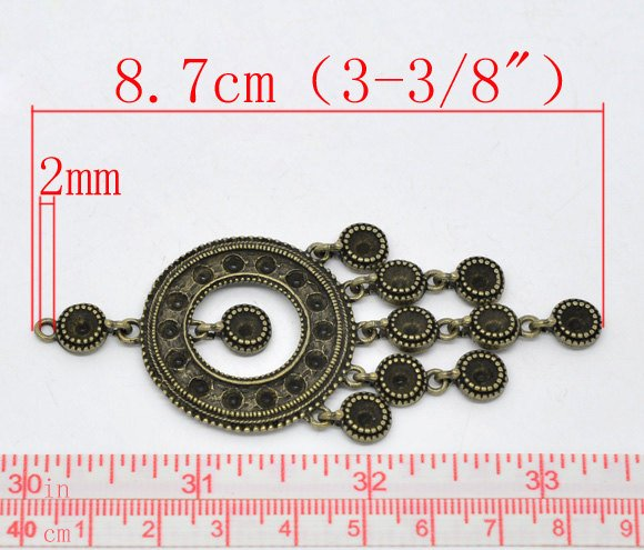 "Antique Bronze Round Circle Pendant or Charm - 8.7x3.2cm (3-3/8""x1-1/4"") for Necklace"