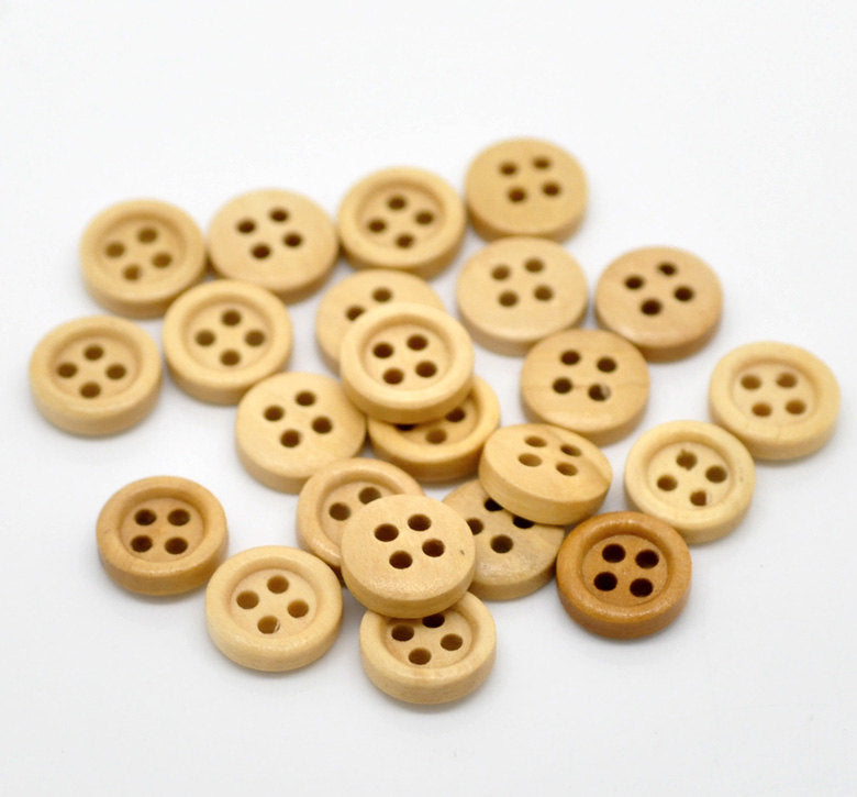 25 Natural Light Brown Wooden Buttons - 11mm - 4 Hole