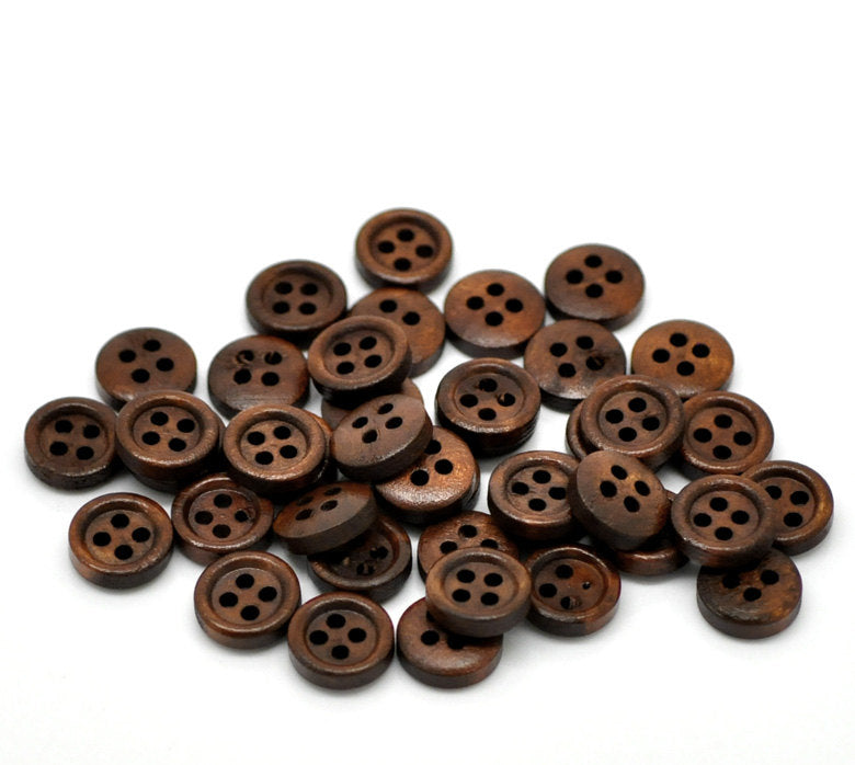 10 Dark Brown Wooden Buttons - 11mm - 4 Hole