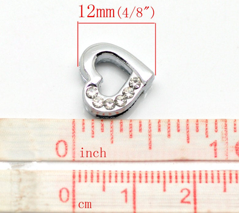 10 Rhinestone Heart Slider Bead Connector - Silver Finish - Crystal Rhinestone