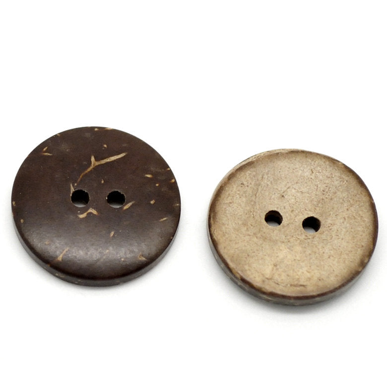 50 Coconut Shell Wooden Buttons - 3/4 inch - 20mm - Wholesale Button - Wood Buttons