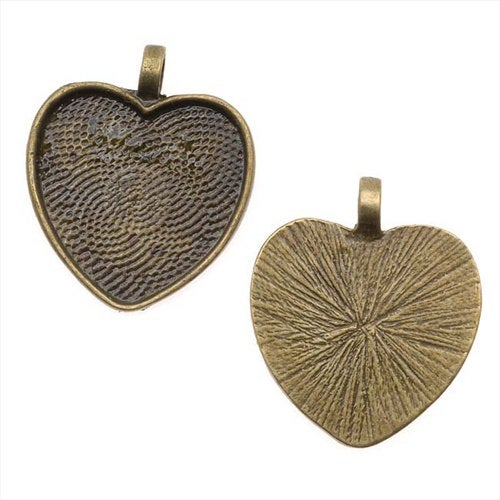10 Heart Pendant Bezel Trays 25mm - Silver, Copper, Bronze - Heart