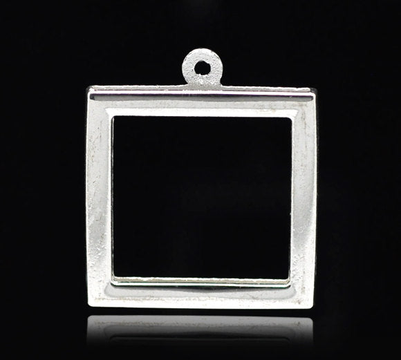 8 Silver Plated Frame Pendant Charm - 27x24mm (Fit 21x21mm)