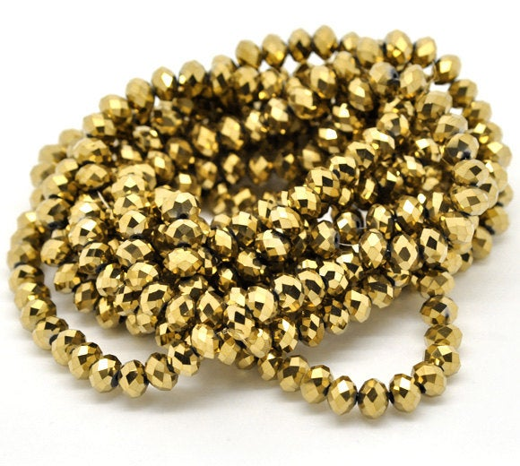 72 Gold Plated Swarovski Style Crystal Glass Faceted Rondelle Beads 8mm