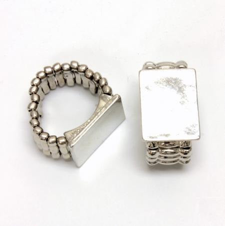 1 Stretchy Ring Base - Silver Plated