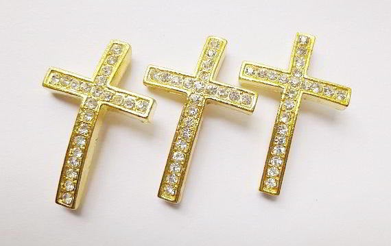 5 Rhinestone Sideways Cross Connectors Links Gold Crystal 50mm x 17mm