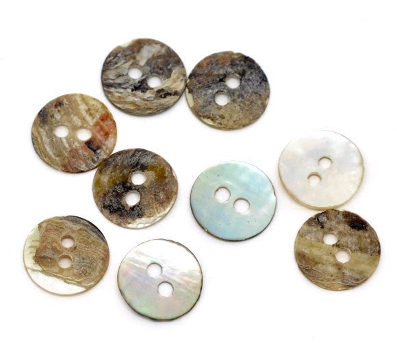 5 Mother of Pearl Shell Round Buttons - 11mm - 2 Hole