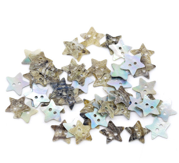 10 Mother of Pearl Shell Star Buttons - 13mm - 2 Hole