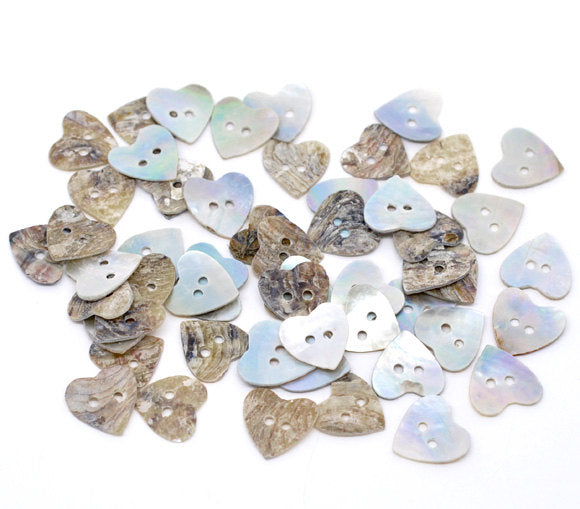 10 Mother of Pearl Shell Heart Buttons - 15mm - 2 Hole