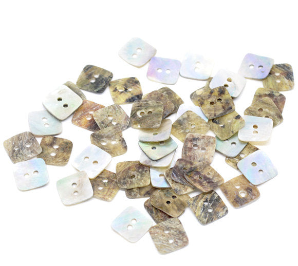 5 Mother of Pearl Shell Square Buttons - 12mm x 12mm - 2 Hole