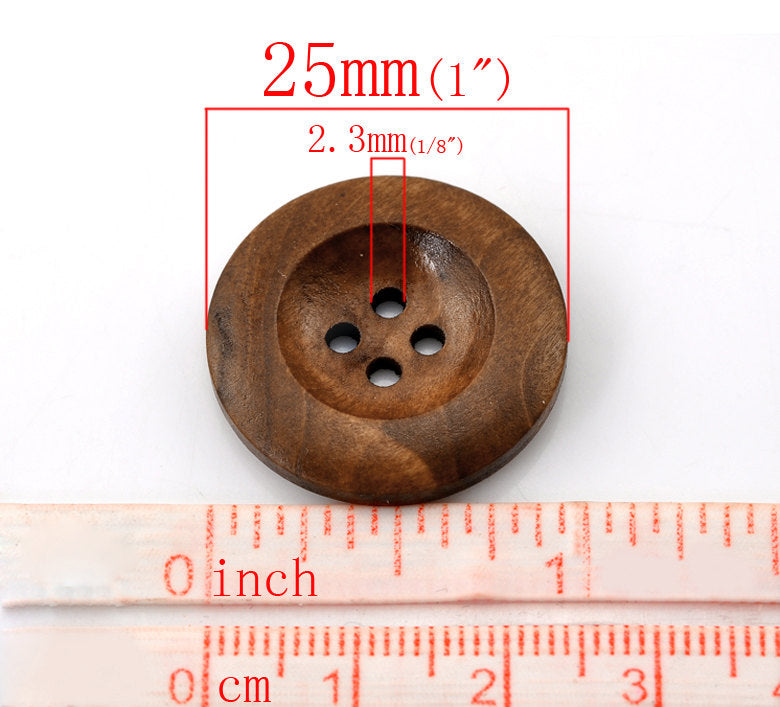 "Brown Wooden Buttons - 25mm (1 inch) - 4 Holes -  Round Sewing Wood Buttons 25mm (1"")  (21317)"