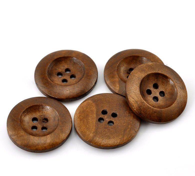 "Custom for Kaitlin - 1 Brown Wooden Buttons 25mm (1 inch) - 4 Holes -  Round Sewing Wood Buttons 25mm (1"")  (21317)"