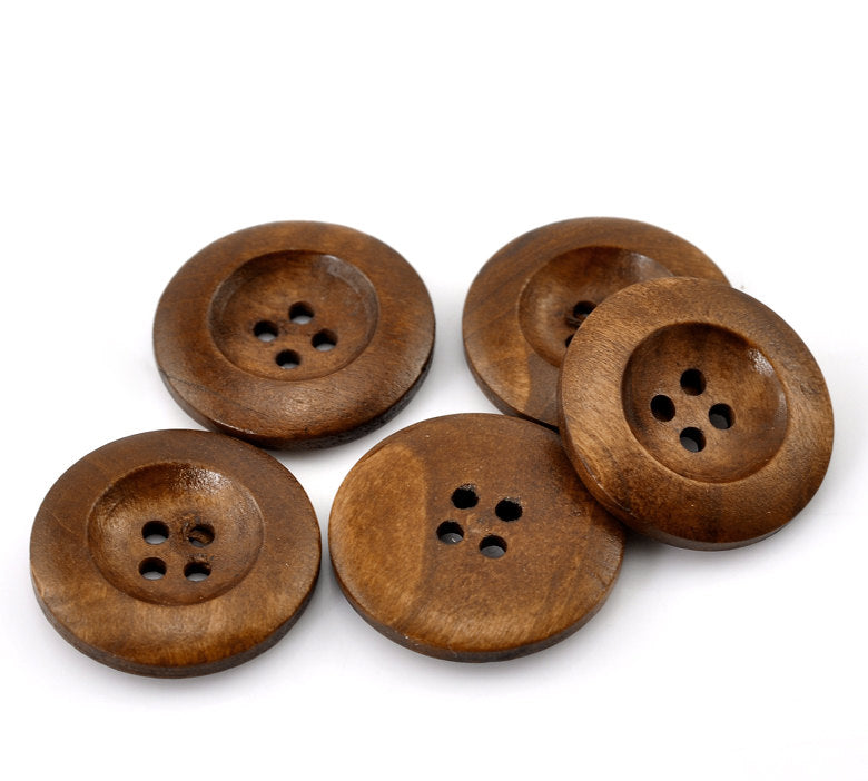 50 Brown Wooden Buttons - 25mm (1 inch) - 4 Holes