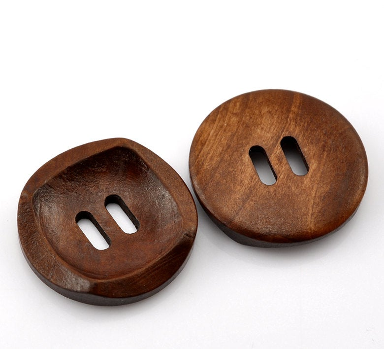 "5 Dark Brown Coffee Wooden Buttons - 30mm (Approx. 1 1/8"" inch)  - 2 Hole"