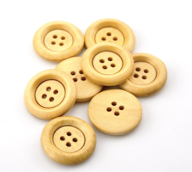 10 Natural Wooden Buttons - 23mm (7/8 inch)  - 4 Hole - Slightly Antiqued