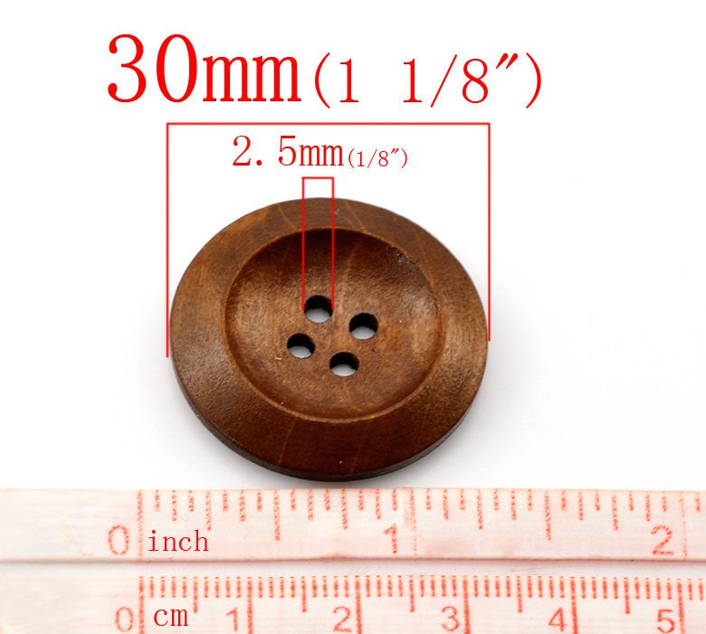10 Brown Coffee Wooden Buttons - 30mm (1 1/4 inch)  - 4 Hole