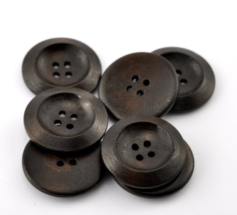 "10 Dark Brown Coffee Wooden Buttons - 30mm (Approx. 1 1/8"" inch)  - 4 Hole"
