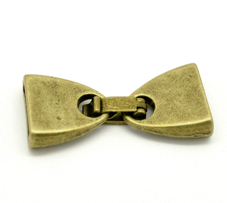 5 Antique Bronze Clasps - 28mm x 13mm