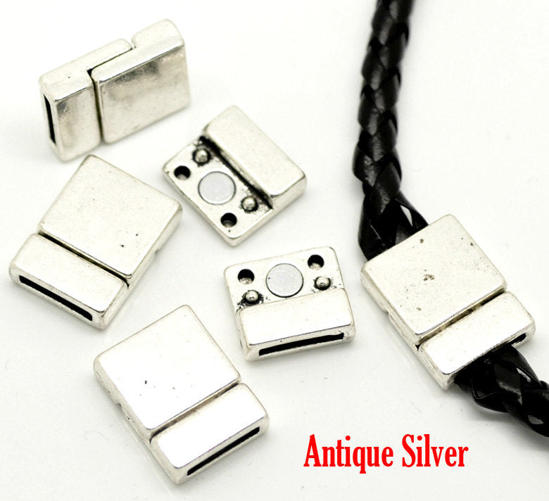 2 Antique Silver Magnetic Clasps - 21mm x 16mm -  Square Silver Clasp for Leather Cord or Bracelet (17921)