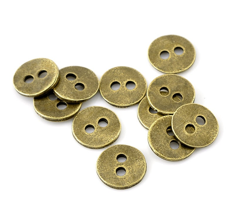 "25 Antique Bronze Metal Button - 2 Holes - 11mm (3/8"")"