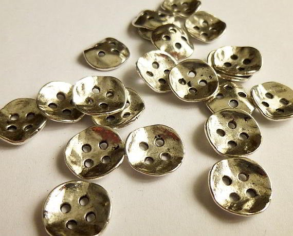 "10 Antiqued Silver Metal Buttons 14mm x 14mm (4/8""x4/8"")"