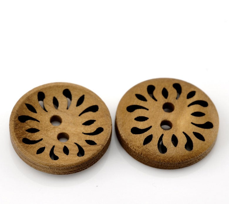 10 Brown Coffee Carved Wooden Buttons - 23mm (Approx. 1 inch) - 2 Hole