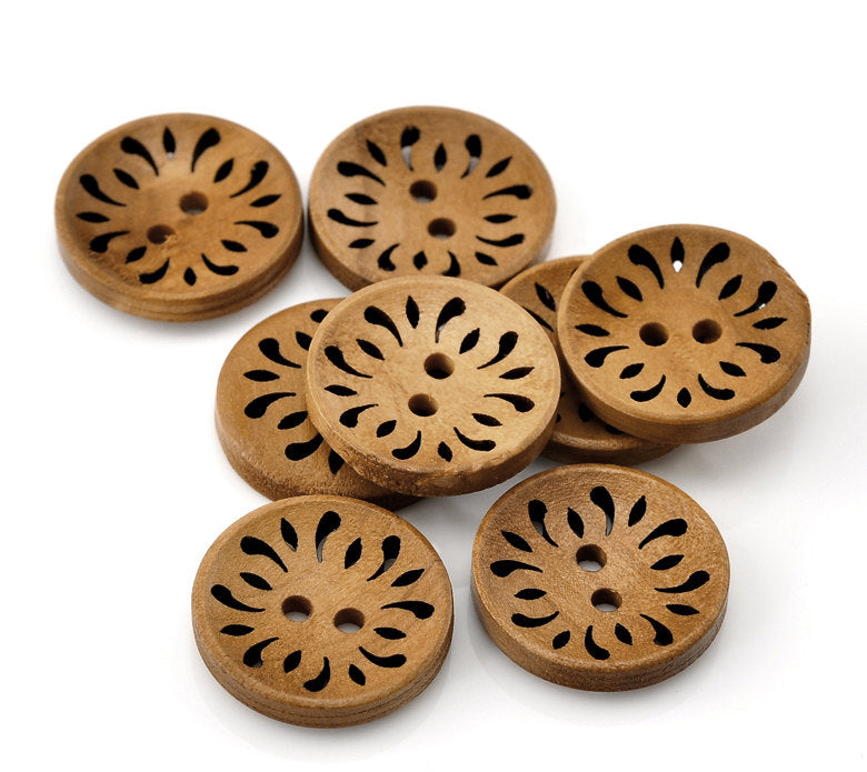 25 LIght Brown Coffee Carved Wooden Buttons - 23mm (7/8 inch) - 2 Hole