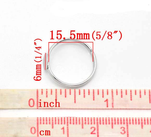 5 Adjustable Ring Base - Silver Finish - Lead Nickel Free -  16mm - Pad 6mm - Adjustable Ring Bases