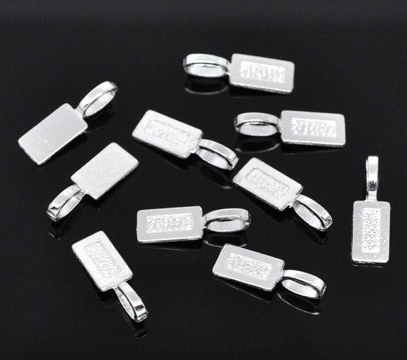 10 Silver Bails - Silver Plated - Lead Nickel Free -  21mm x 7mm