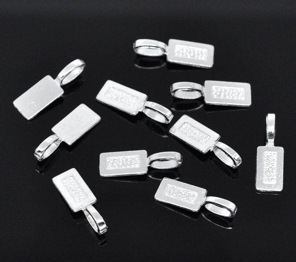 50 Silver Bails - Silver Plated - Lead Nickel Free -  21mm x 7mm - Silver Bail (B11425)