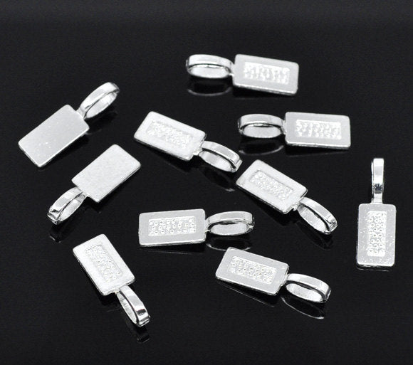 25 Silver Bails - Silver Plated - Lead Nickel Free -  21mm x 7mm