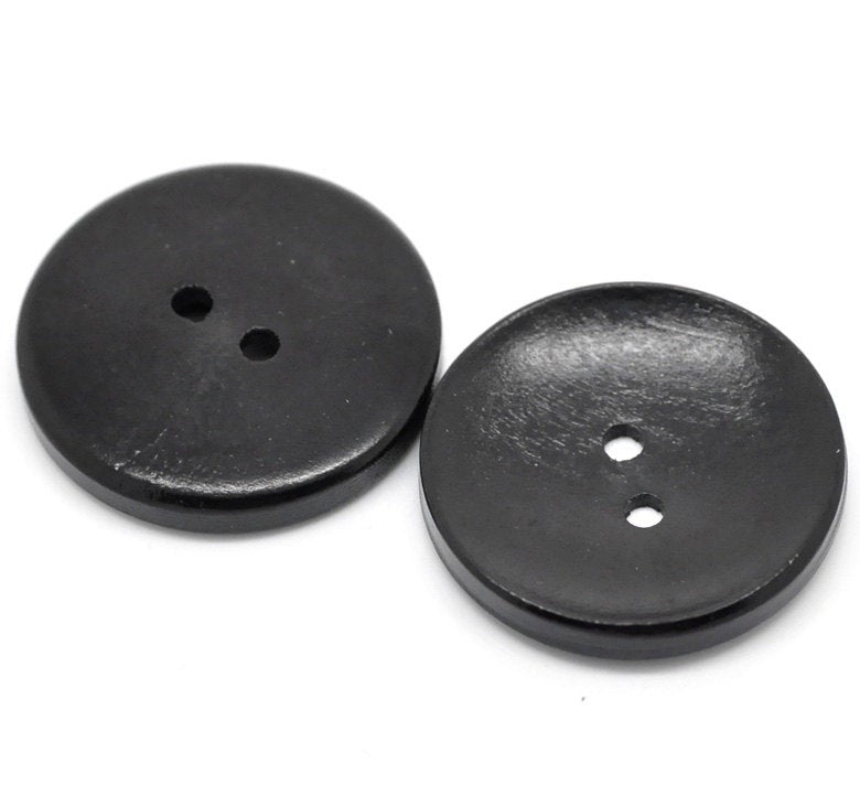 "10 Black Wooden Buttons - 30mm (Approx. 1 1/8"" inch)  - 2 Hole"