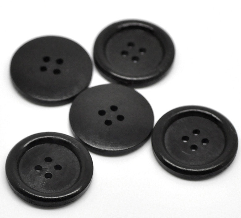 "10 Black Wooden Buttons - 30mm (Approx. 1 1/8"" inch)  - Rim"