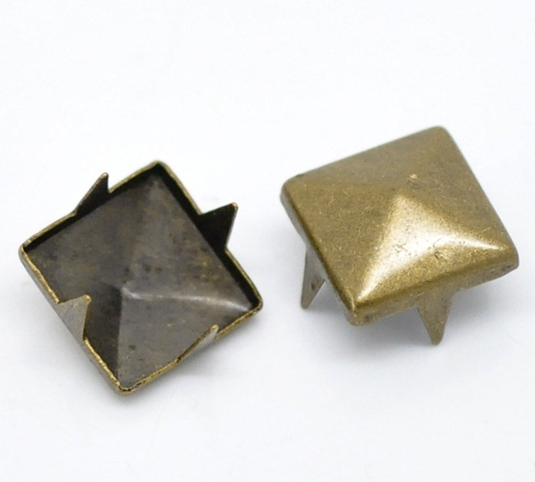 "100 Antique Bronze Cone Rivet Stud Spikes - 9mm (3/8"") - Square Pyramid - Metal - 4 Legs - Rivets Studs Spike (B18723)"