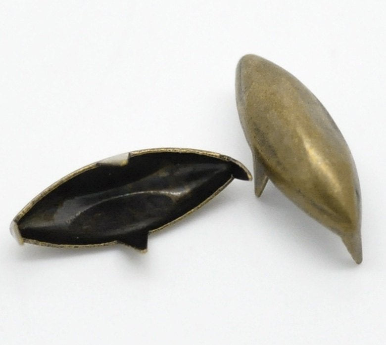 "25 Antique Bronze Pointed Oval Rivet Stud Spikes -14mm x 5mm (1/2""x1/4"") - Metal - 4 Legs - Rivets Studs Spike (B18729)"
