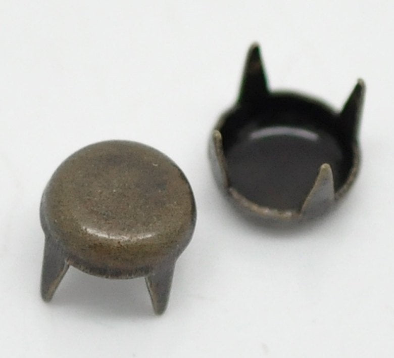 50 Antique Bronze Cone Rivet Stud Spikes - 5mm - Round Dome - Metal - 4 Legs - Rivets Studs Spike (B19029)